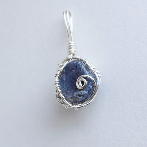 A Leaf of Blue - Raw Blue Sapphire & .999 Fine Silver Pendant