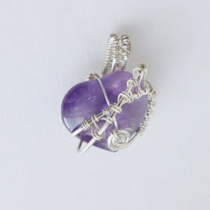 Amethyst Heart & .925 Sterling Silver Pendant - Fourth Variation