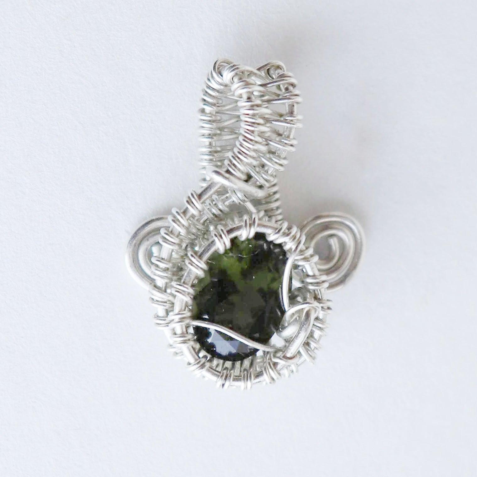 Heartfelt Melody - Faceted Moldavite Gem & .925 Sterling Silver Pendant