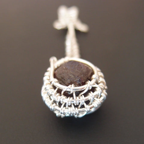 Down To Earth - .999 Fine Silver & Tachyonized Garnet Pendant
