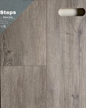 "7.1""48"" Vinyl Tile - Steps Silver Grey  $2.39 Square Feet - Low Price Floor"