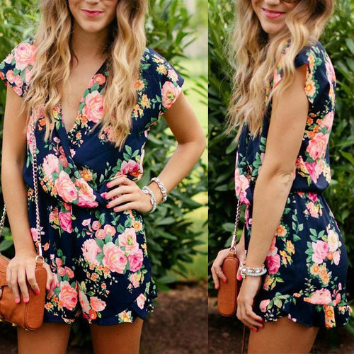 a78f4ce5f6ef V Collar Short Sleeve Sexy Printed Rompers Playsuit