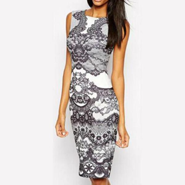 c7956b859a Round Neck Abstract Print Bodycon Dress – audrwe