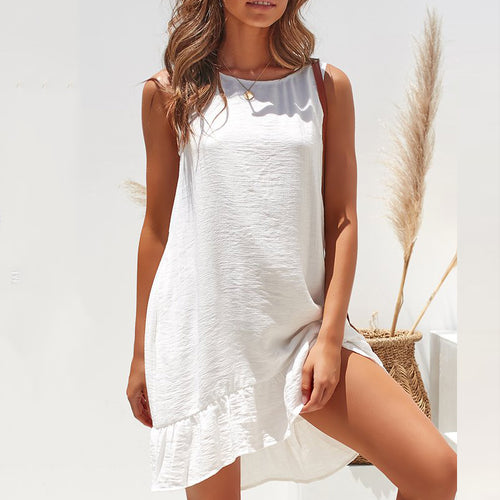 e3027d4259ce Fresh Round Neck Sleeveless Ruffled Loose Solid Color Comfortable Dress