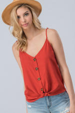 Linen Solid Adjusted Strap Coconut Button Cami-Fiesta