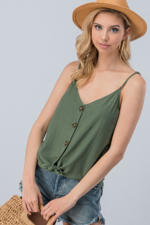 Linen Solid Adjusted Strap Coconut Button Cami-Olive