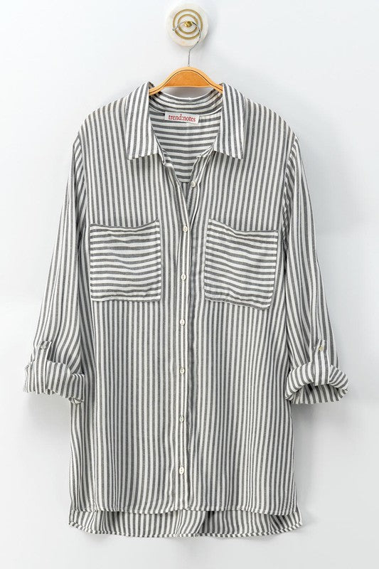 Stripped Button Down Shirt-Grey 0709-5906-1