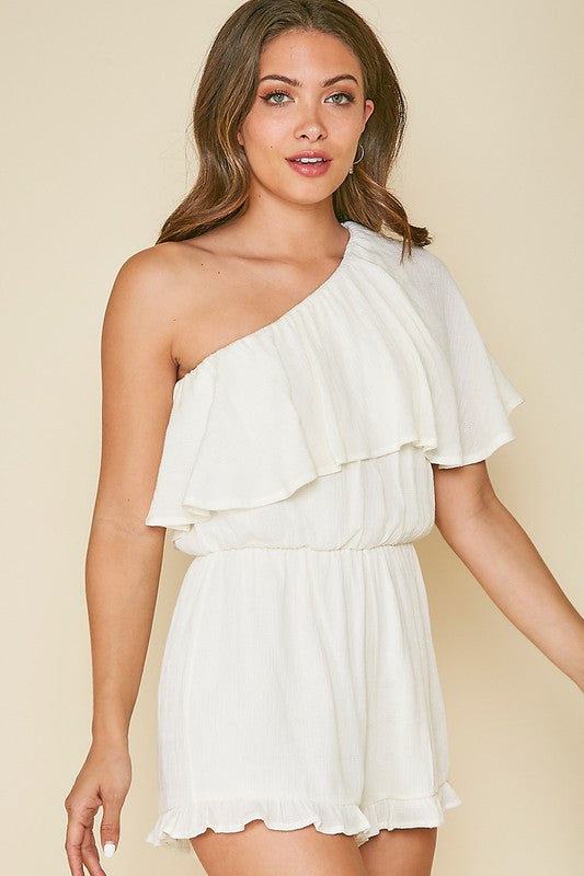 One Shoulder Woven Romper White-R36041-05