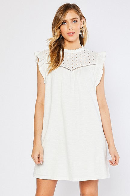 Eyelet Lace Yoke Detail Midi Dress-Ivory H42145