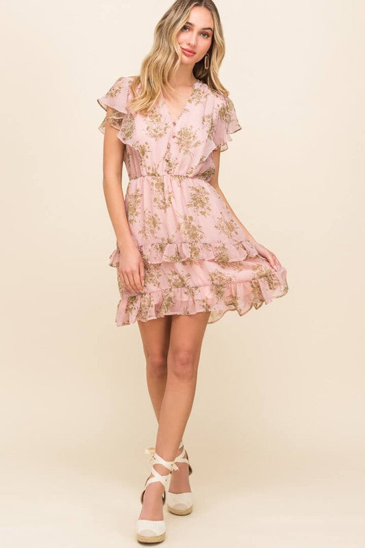 Button Ruffle Layered Mini Dress-Pink ID3489-FCI