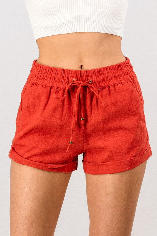 Linen Waistband  Shorts With Tie String-Strawberry