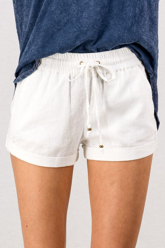 Linen Waistband  Shorts With Tie String-White