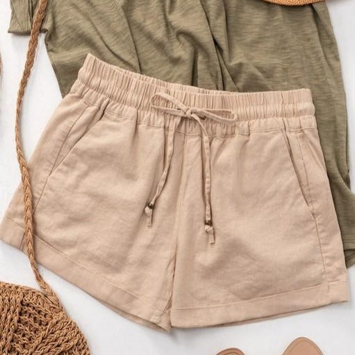 Linen Waistband  Shorts With Tie String-Taupe