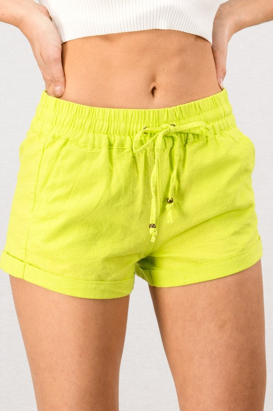 Linen Waistband  Shorts With Tie String-Neon Yellow