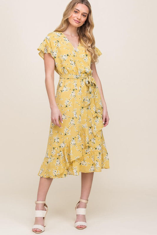 Printed Surplice Wrap Dress-Yellow ID3465-FCI