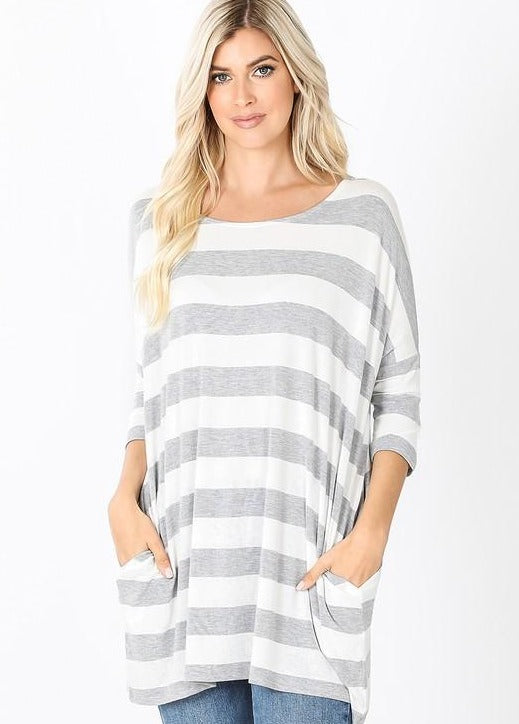 Heather Grey/White Striped Shirt RT-1771PS
