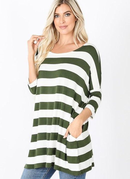 Olive/White Striped Shirt RT-1771PS