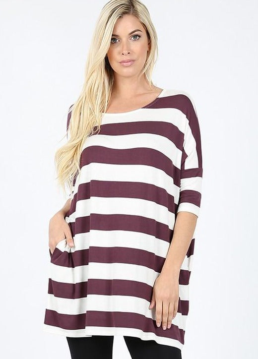 Eggplant/White Striped Shirt RT-1771PS