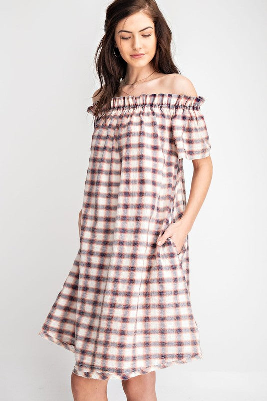 Off The Shoulder Plaid Midi Dress-Red Navy ED14082