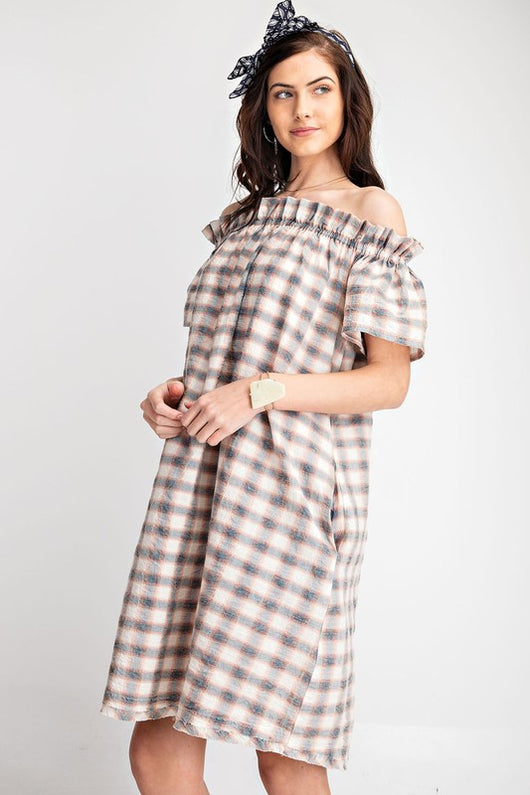 Off The Shoulder Plaid Midi Dress-Faded Teal ED14082