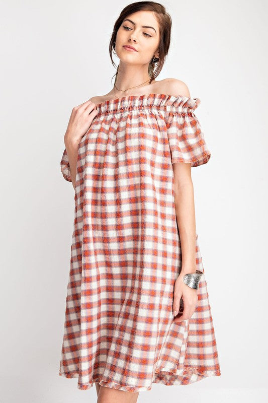 Off The Shoulder Plaid Midi Dress-Spicy Rust ED14082