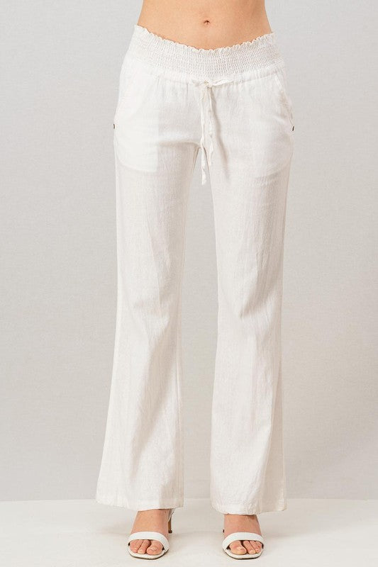 Linen Waistband  Pants With Tie String-White