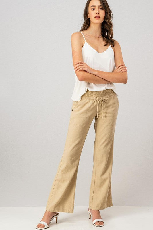 Linen Waistband  Pants With Tie String-Taupe