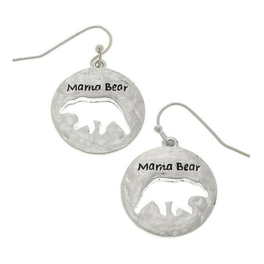 18582E-Silver Mama Bear Earrings