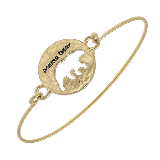 18588B-Gold Mama Bear Disc Bangle Bracelet