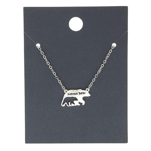 18596N-Silver Mama Bear Necklace