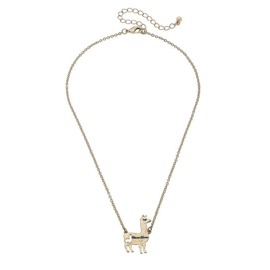 19652N-Gold Mama Llama Charm Necklace