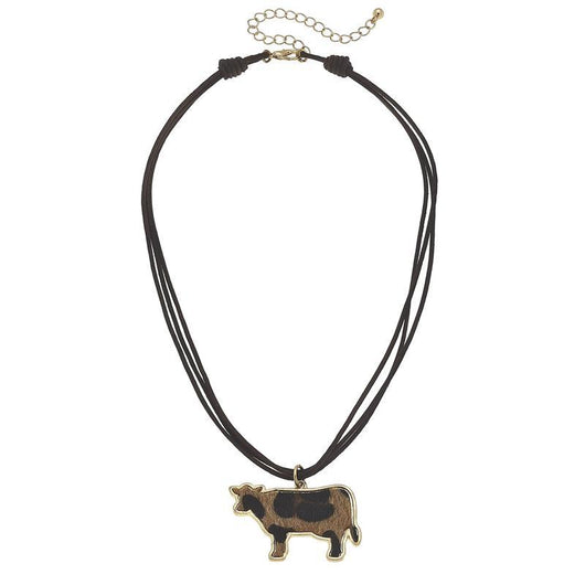 19755N-Cow Leopard Print Chord Necklace