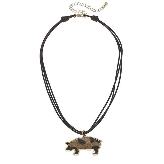 19755N-Pig Leopard Print Chord Necklace