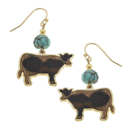 19756E-Cow Drop Earring