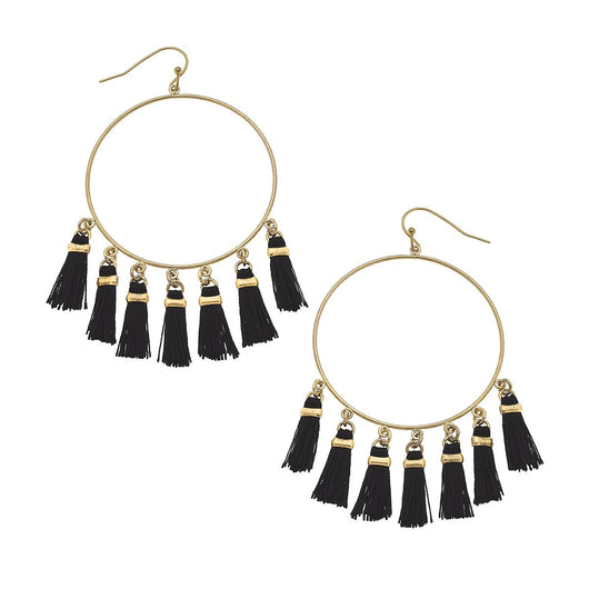 19822E-BK Tassel Earrings Black