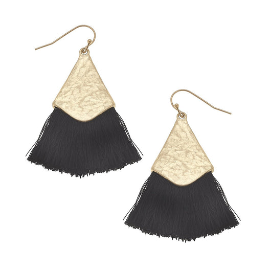 19824E-BK Tassel Earrings Black