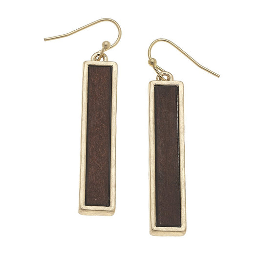 19860E-BR Wood Bar Linear Earrings Brown
