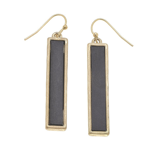 19860E-GY Wood Bar Linear Earrings GY