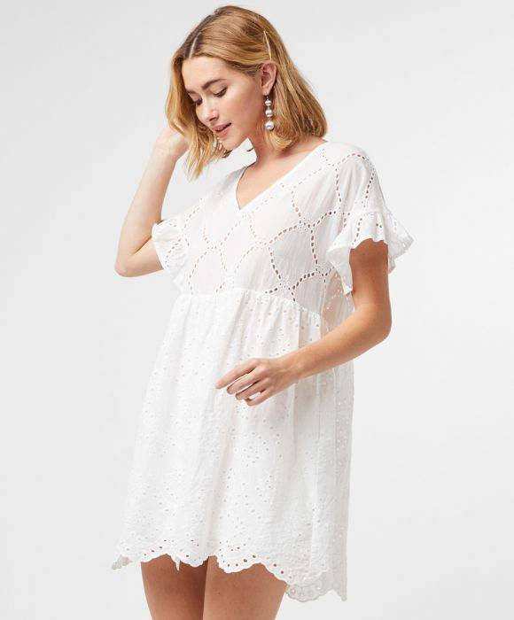 Eyelet Lace Babydoll Dress-White D11557