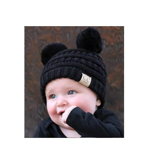 Baby-23 Double Pom Beanie Black