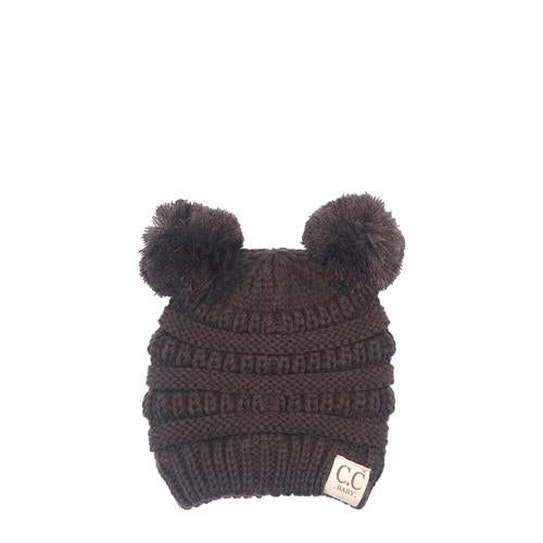 Baby-23 Double Pom Beanie Brown