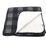 BL-3 Buffalo Plaid Grey/Black Sherpa Blanket