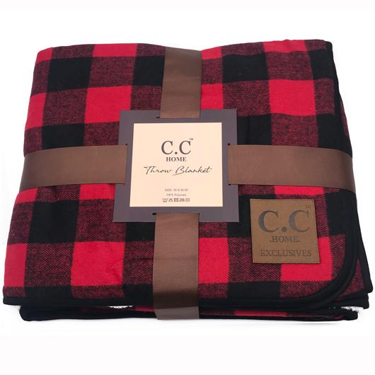 BL-3 Buffalo Plaid Red/Black Sherpa Blanket