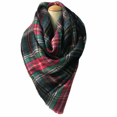 BLANKET SCARF 31 NAVY/PINK/GREEN