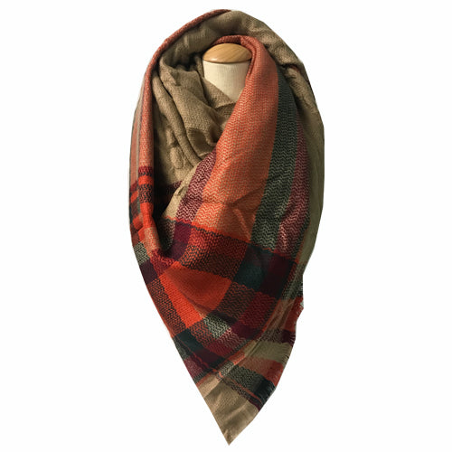 BLANKET SCARF 35 ORANGE/TAN