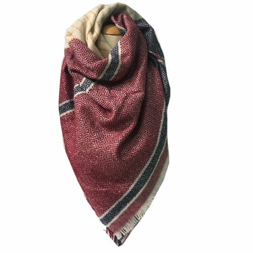 BLANKET SCARF 53 WINE/NAVY