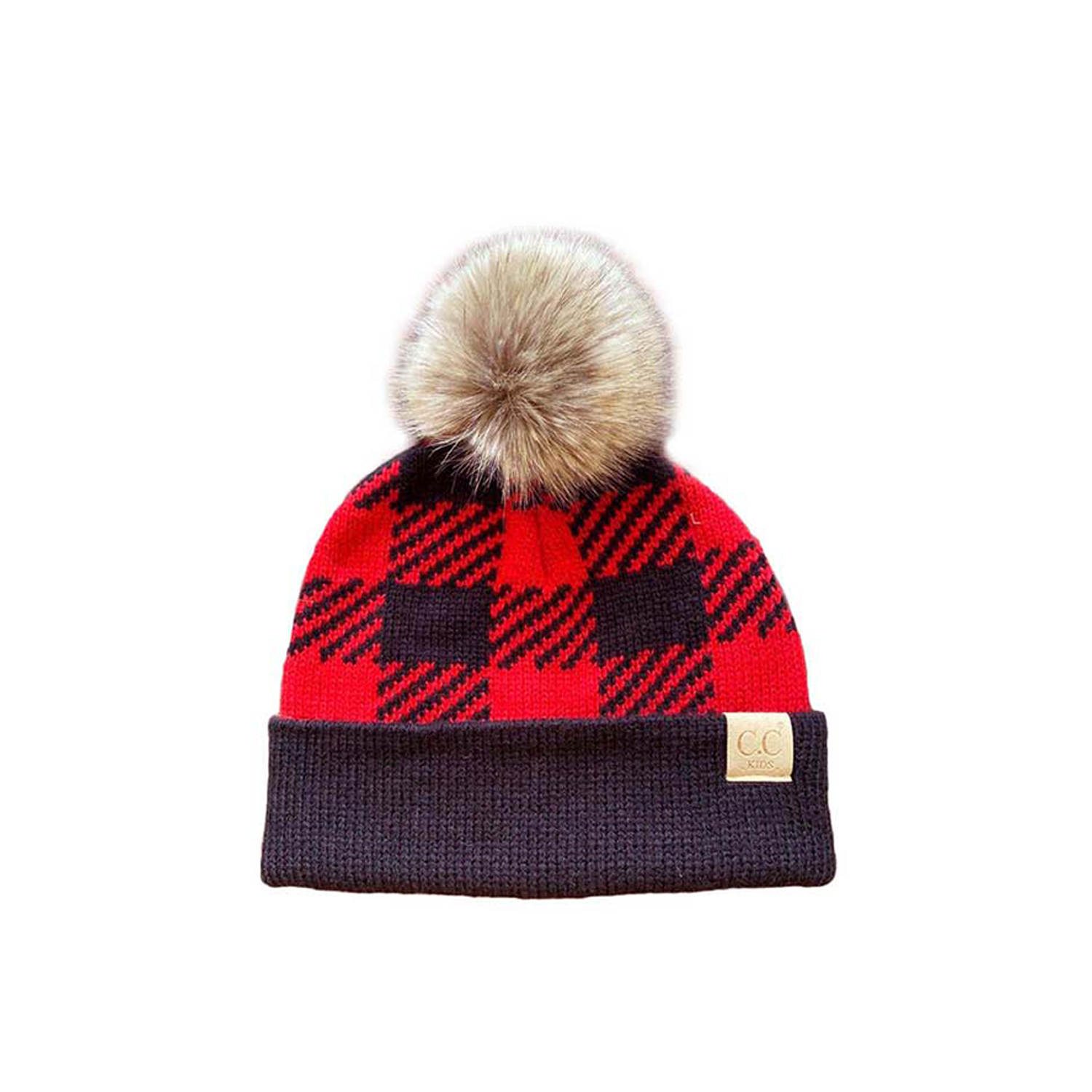 BP-43-KIDS Buffalo Plaid Beanie w/Faux Fur Pom - Red/Black