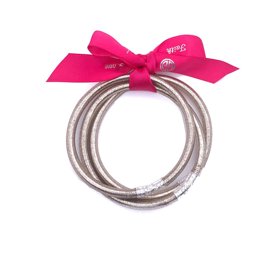 Faith Hope Love Glitter Bangle Bracelet Rose Gold
