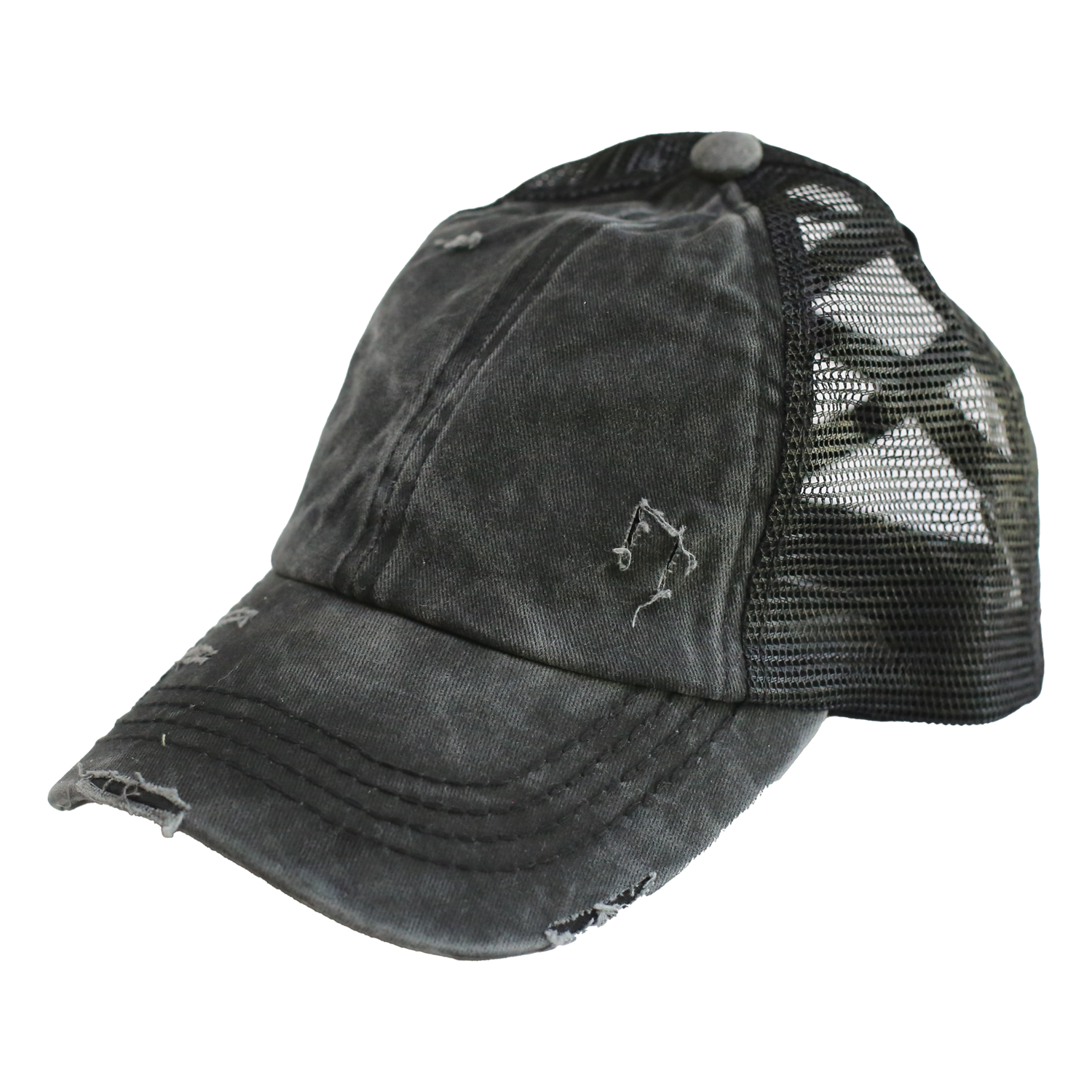 BT-780 C.C Criss Cross Pony Cap BLACK/BLACK