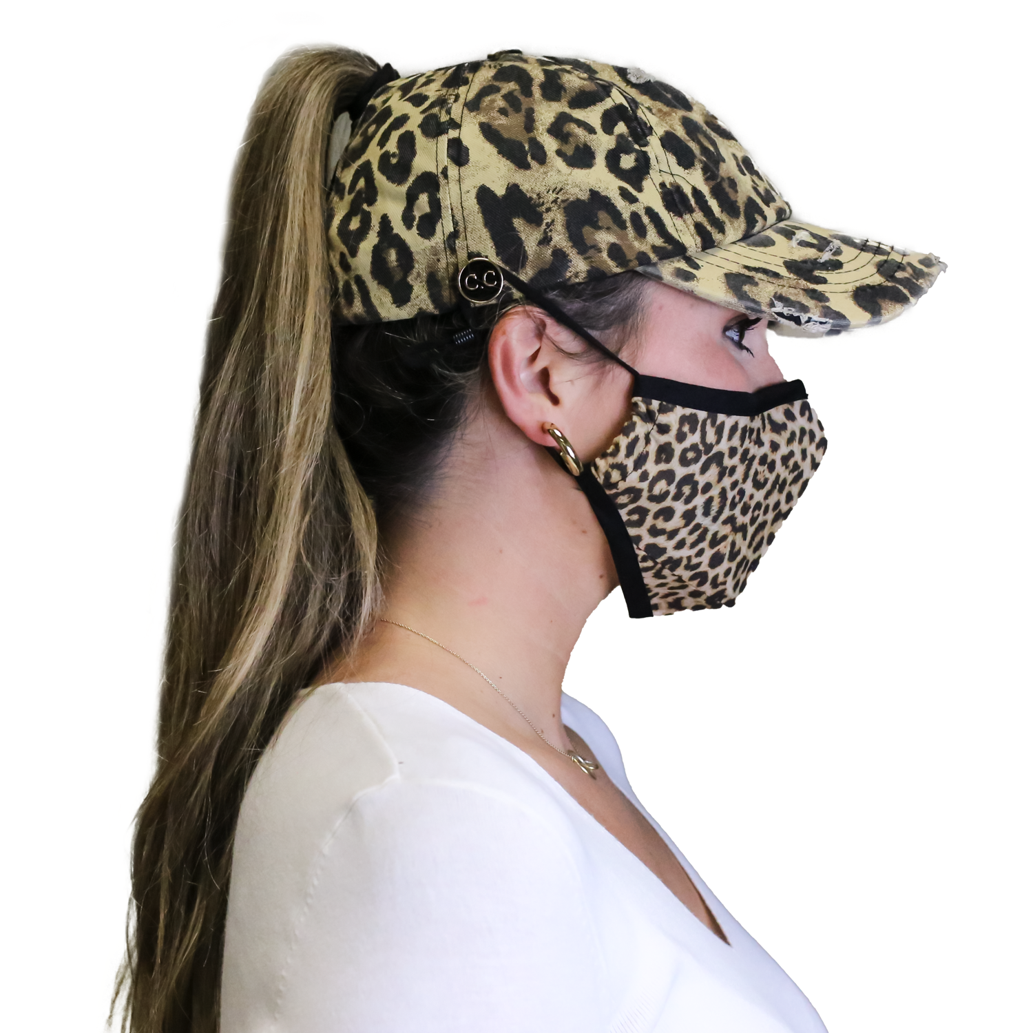 BT-799 C.C Washed Denim Criss Cross Pony Cap with Buttons - Leopard